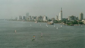 Lagos Island as seen from the harbor (Photo by Benji Robertson, Wikimedia Commons)