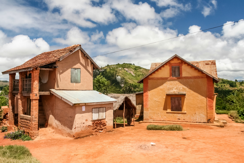 Typical architecture of the Malagasy highlands near Fianarantsoa, Madagascar (Shutterstock)