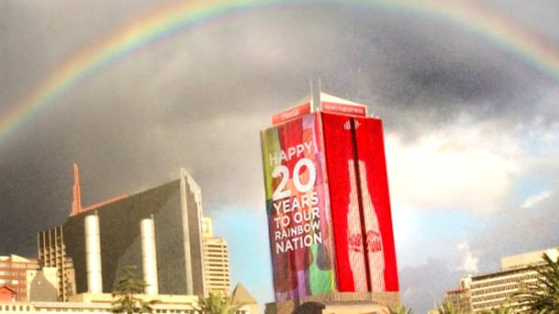 "Giant Rainbow in Johannesburg Commemorates 20 Years of the ""Rainbow Nation"""