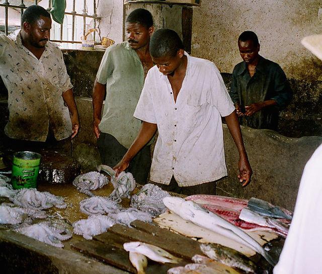fish sellers in zanzibar tanzania
