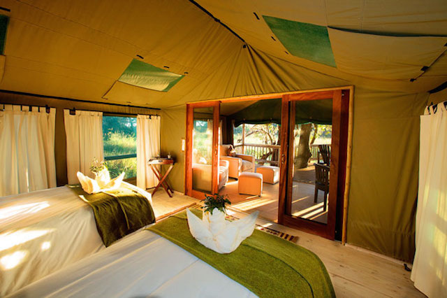 glamping in gunns camp in botswana
