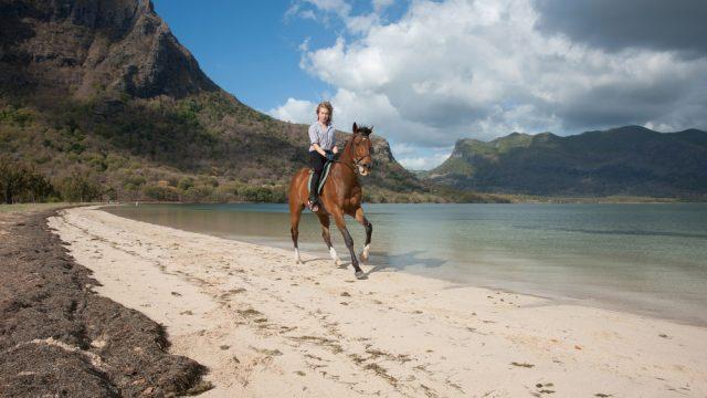 Horseback riding in Mauritius.
