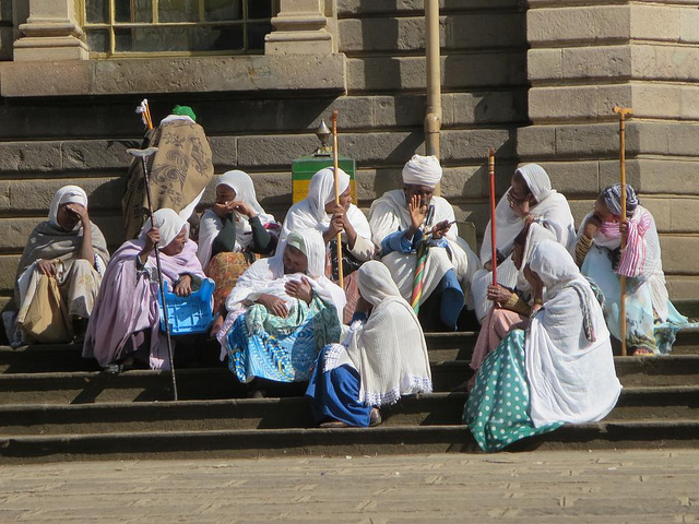 orthodox devotees in Addis