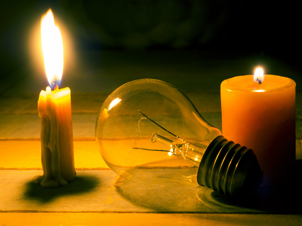 no power lightbulb and candle