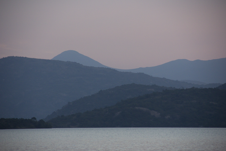 Dusk at the dam. The hills around Maguga dam in the north of Swaziland